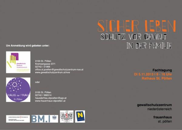 Einladung Fachtagung Sicher Leben 2013